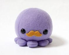 Purple Octopus Plush Toy with Moustache