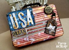 yaya scrap & more: Happy July 4th !!! using Tim Holtz, Ranger, Idea-ology, Sizzix and Stamper's Anonymous products; July 2015