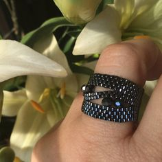 Crystal Ring, Czech Crystal, Beaded Ring, Peyote, unique jewelry, seed bead ring, Statement Ring, Cocktail Ring