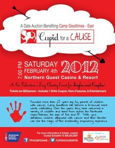 Flyer for Cupid for a Cause  - Charity Auction sponsored American Cancer Society