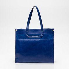 Sac shopping, cuir bleu 40 x 36 x 11 cm