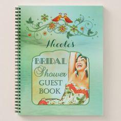 Aqua Green Floral Photo Bridal Shower Notebook - bridal shower wedding marriage party bride idea