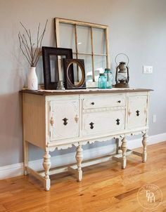 Painted Sideboard Hutch Buffet Makeover with Valspar Chalky Finish Paint in Kid Gloves, Antiquing Wax, and Sealing Wax Buffet Hutch, Refinished Buffet, Painted Sideboard, Painted Buffet, Refinished Furniture, Distressed Furniture, Repurposed Furniture, Vintage Buffet, Antique Buffet