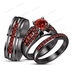 Round Red Garnet 14k B/Gold Finish 925 Silver Engagement & Wedding Trio Ring Set
