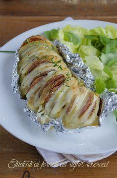 1 patate a fisarmonica con prosciutto e scamorza ricetta patate hasselback gustose