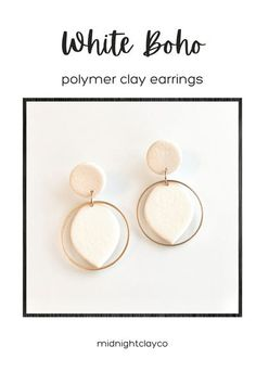 White leather effects polymer clay earrings. Almond shaped earrings with gold hoops. Minimalist earrings perfect for a spring or summer wedding. Give as a unique birthday gift for aunt, cousin, or hairdresser. Great mothers day gift idea. Shop these modern handmade earrings for women in my etsy shop!