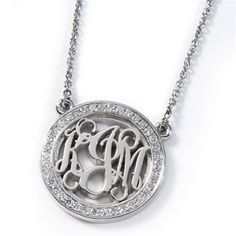 Diamond-Rimmed Monogram Pendant with Chain - available in Platinum, Palladium, 18k, 14k, and 10k Gold, and Sterling Silver