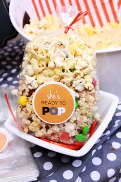 She's Ready to Pop baby shower - popcorn favors