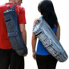"Amazon.com : Aurorae Yoga Mat Bag ""The Mat Sak"" 100% Cotton Premium Ring Spun Denim, 28"" Long to Fit Most Mats & Extra Wide, Cargo and Zip P..."
