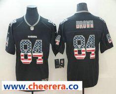 320def967 Men s Oakland Raiders  84 Antonio Brown 2018 USA Flag Fashion Black Color  Rush Stitched Nike