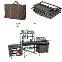 Deluxe Portable Travel Camp Kitchen with Sink,Table,and Carrying Case Take campout cuisine to a whole new level of convenience when you set up the Deluxe Camper's Kitchen. Powder-coated steel frame an