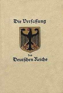 Die Weimarer Reichsverfassung vom 11. August 1919