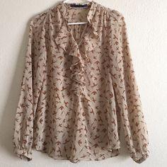 Zara Bird Top Chiffon blouse with a bird design! Very lightweight!! Ruffles & button front collar! Excellent condition!! Zara Tops Blouses