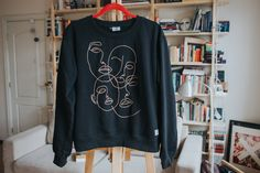 Hand Embroidered Abstract Face T-Shirt