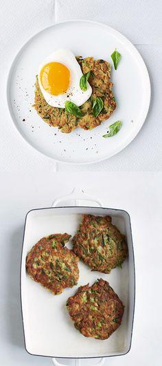 Zuchini fritters with eggs - healthy breakfast @UNIQLO