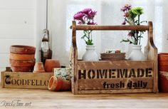 Handmade rustic wood flower shop tote with Vintage Sign Stencils graphics - KnickofTime.net