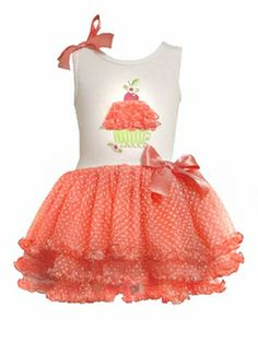 Bonnie Jean Orange Cupcake Tutu Dress