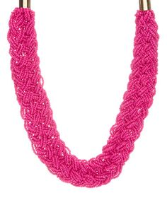 Love this Pink Beaded Braided Necklace on #zulily! #zulilyfinds