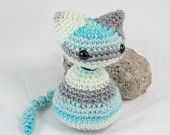 Cate the Kitten - Striped Blue, White, and Grey from LilyMoonCrochet Shop