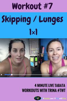 Grab a friend and stay accountable with this Skipping and Lunge Tabata Challenge.  Time to get energized and fit.  Tabata with Trina