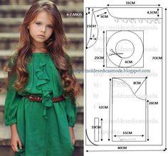 patrones para hacer vestidos de niña de 7 años