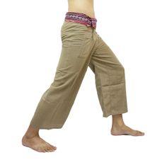 Peach Thai Fisherman Pants with Thai hand woven fabric on waist side, Wide Leg pants, Wrap pants, Unisex pants  $25.00 Free shipping