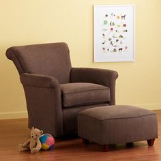 Nursery Gliders: Brown Chocolate Swivel Glider Chair and Ottoman in Upholstered Seating