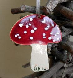 Mushroom Ornaments Red Christmas ceramic ornaments Red