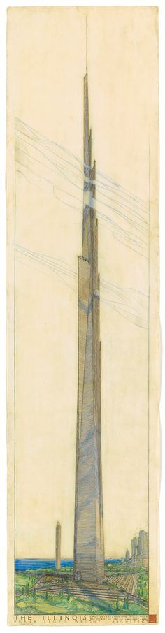A new exhibition at New York's Museum of Modern Art celebrates the 150th birthday of Frank Lloyd Wright and the institution's acquisition of the great 20th-century architect's archive, including this 1956 drawing of Chicago's never-realized mile-high Illinois skyscraper. The show is just one of the myriad ways the world is marking Wright's sesquicentennial. Top: The designer at work (Photographer unknown).