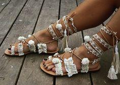 VENTES RiRiPoM ficeler de Gladiator sandales en cuir