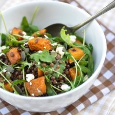 Lentil Pumpkin Salad with Arugula and Feta Cheese