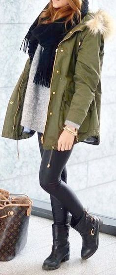 I have a pair of boots almost exactly like those but have never thought to wear legging with them I LOVE IT. I also love all the layers and the colors.