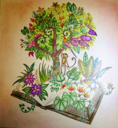 The Magic Of Books From Magical Jungle Coloring Book By Johanna Basford Done With Prismacolor Premier Pencils Gel Pens For Highlites And Soft Pastels
