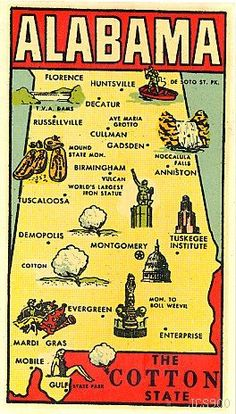 """This rare water decal of ALABAMA was produced in the 1950's by the GOLDFARB NOVELTY CO.... The tiny graphics on this well-detailed map of THE COTTON STATE are so cleverly drawn, they really bring this water decal to life! There are even tiny skeletons in the Mound State Monument!"""