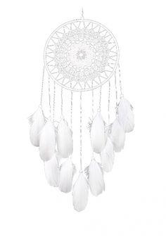 Attrape rêves tissé et plumes blanches