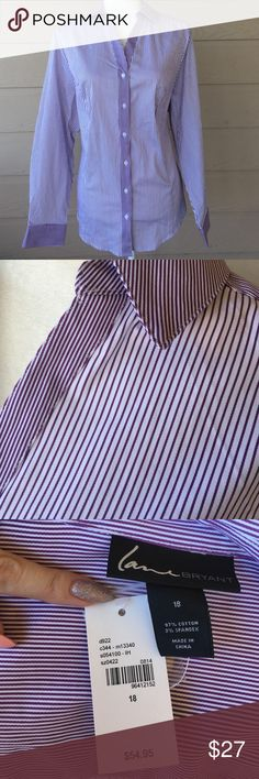 Lane Bryant Button Down Career Top Size 18 Condition: New with Tag Size: 18 Color: White and Purple 🛍More info: Offers Welcomed. No Trades. Discount for Bundles! 💖 Shipping: Items will be shipped next business day! 📬 I ship items in a box 📦 not padded envelopes! Thanks for looking and happy shopping! Lane Bryant Tops Button Down Shirts
