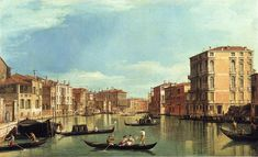 Grand Canal Between the Palazzo Bembo and the Palazzo Vendramin by Canaletto - Find Monet, Van Gogh, Renoir, and More at OilPaintings.com
