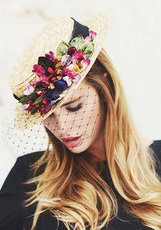 pretty boater hat covered in velvet flowers