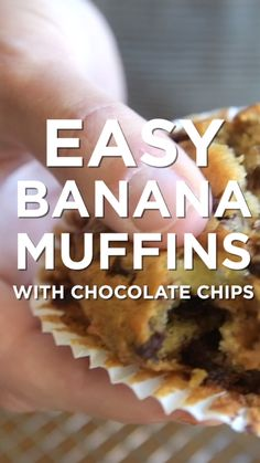 How to make easy banana muffins from scratch. We add mini chocolate chips but they are excellent plain or with nuts added. How to make easy banana muffins from scratch. We add mini chocolate chips but they are excellent plain or with nuts added. Banana Chocolate Chip Muffins, Banana Chips, Chocolate Chips, Banana Muffins 2 Bananas, Easy Banana Bread Muffins, Baking With Bananas, Banana Cupcakes, Chocolate Desserts, Breakfast Casserole Easy