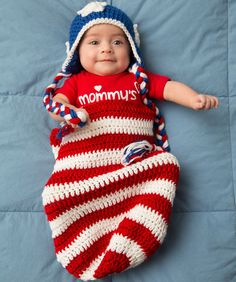 Ravelry: Patriotic Baby Cocoon Hat Crochet Pattern pattern by Salena Baca Crochet Bebe, Crochet For Kids, Free Crochet, Crochet Hats, Crochet Summer, Crochet Braids, Crochet Afghans, Baby Blanket Crochet, Baby Bunting