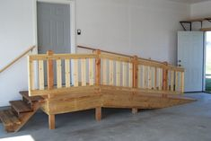 Elderly ramp in garage with steps. Build slope -for every foot reqs 12 ft of ramp; 24 inch step reqs 24 ft of ramp so it's a 1 inch rise Handicap Accessible Home, Handicap Ramps, Garage Steps, Porch Steps, Porch With Ramp, Ramp Design, Thing 1, Home Projects, New Homes