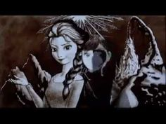 """Absolutely awesome!  """"Frozen"""" created with nothing but sand, the artist's hands and a bottom-lit table (or overhead projector), created to the somg """"Let it Go""""."""