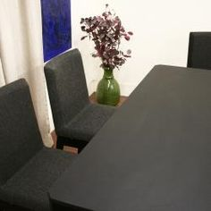@Overstock - Subtle angles and rich grey and black hues lend sophistication to this contemporary dining set. A table and four chairs are included in this furniture set.http://www.overstock.com/Home-Garden/Moira-Black-5-piece-Modern-Dining-Set/5583743/product.html?CID=214117 $1,119.99