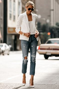 Fashion Jackson Blonde Woman Wearing White Blazer Distressed Jeans Outfit, Street Style, Dallas Blogger, Fashion Blogger