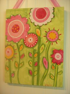 "girl kids room decor..baby nursery wall art..original canvas painting..painted artwork..11 x 14 pink green spring flowers ""bloomin time"". $36.00, via Etsy."