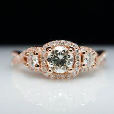 Rose Gold Three Stone Halo Diamond Engagement Ring Petite Infiniti Twist Princess Engagement Ring 14k Rose Gold - Made in your size! Bridal