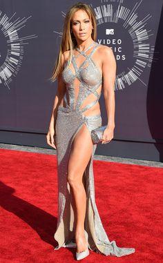 Jennifer Lopez from 2014 MTV Video Music Awards Red Carpet Arrivals  Jennifer Lopez rocked a glittering, skin-baring gown with a sky-high slit.