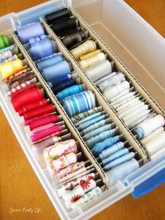 Ribbon Storage and Organization - Laura's Crafty Life - Craft Storage Craft Room Storage, Fabric Storage, Storage Ideas, Diy Storage, Fabric Boxes, Fabric Basket, Craft Ribbon Storage, Storage Systems, Paper Storage