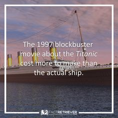 In 1912, the actual Titanic cost about $7.5 million (roughly $140 million in 1997 dollars) to build. James Cameron's film cost $200 million to make. #titanic #history #facts #movies
