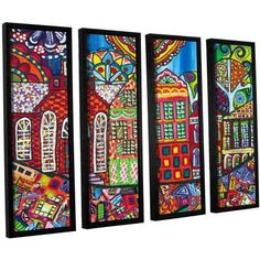 ArtWall Debra Purcell's Lakewood Painted 4-Piece Floater-framed Canvas Set, Size: 36 x 48, Green